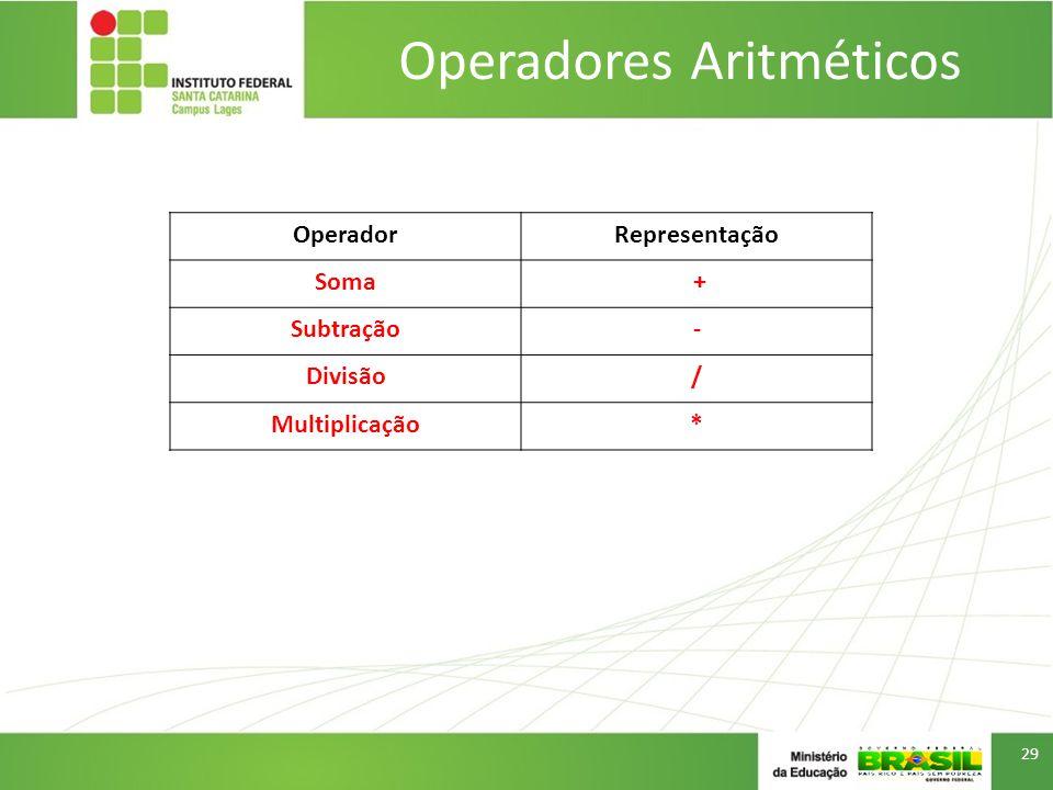 Operadores Aritméticos 29 OperadorRepresentação Soma + Subtração- Divisão/ Multiplicação*
