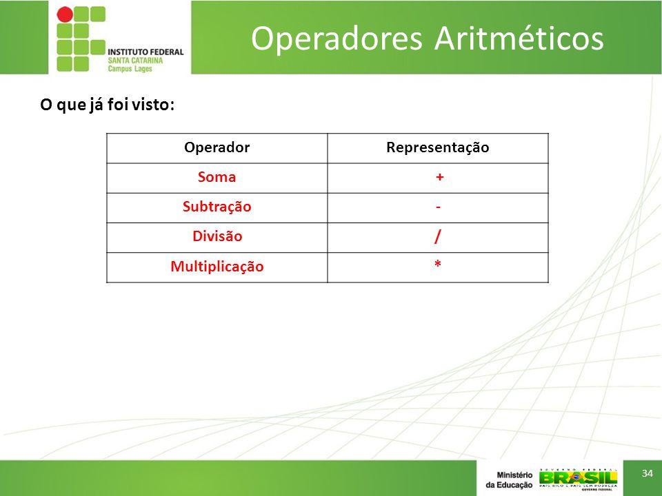 O que já foi visto: Operadores Aritméticos 34 OperadorRepresentação Soma + Subtração- Divisão/ Multiplicação*