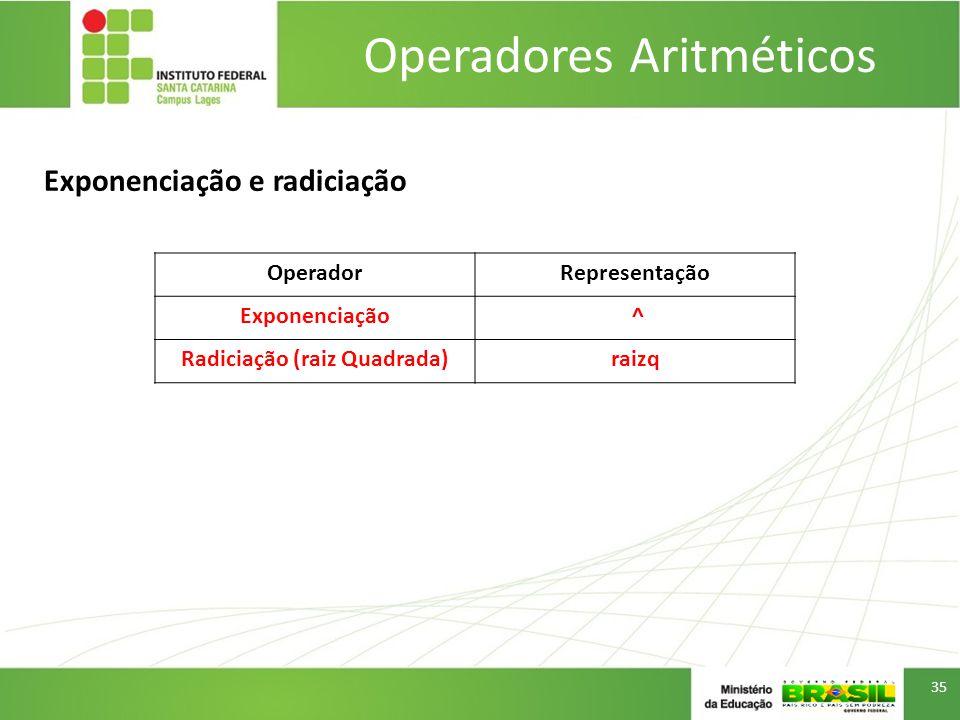 Operadores Aritméticos 35 OperadorRepresentação Exponenciação ^ Radiciação (raiz Quadrada)raizq Exponenciação e radiciação