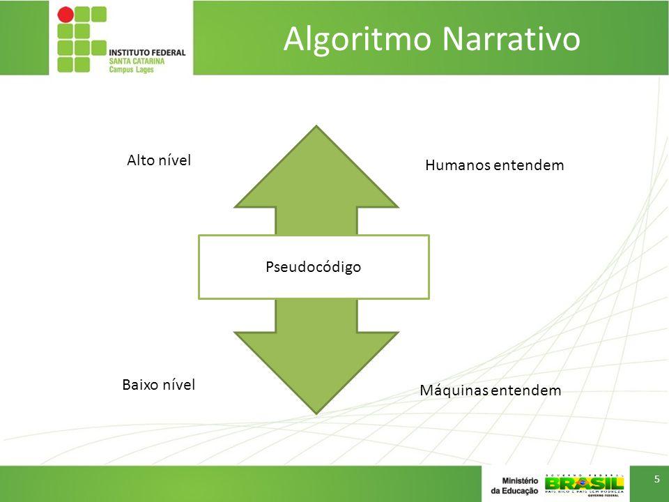 Algoritmo Narrativo Alto nível Baixo nível Humanos entendem Máquinas entendem Pseudocódigo 5