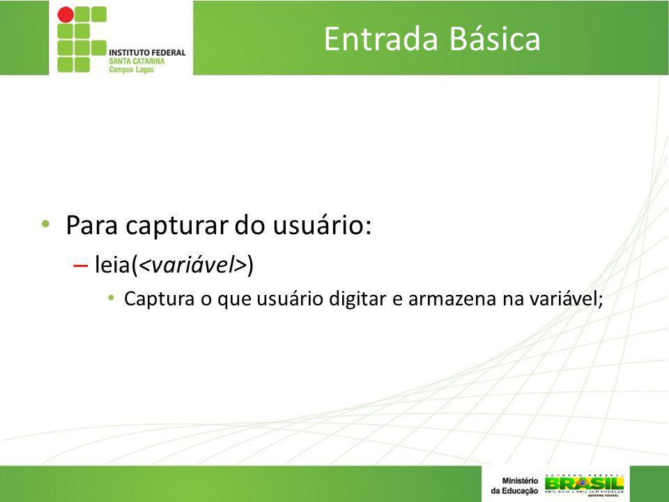 Entrada Básica Para capturar do usuário: – leia( ) Captura o que usuário digitar e armazena na variável;