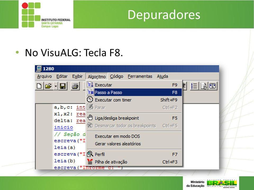 Depuradores No VisuALG: Tecla F8.