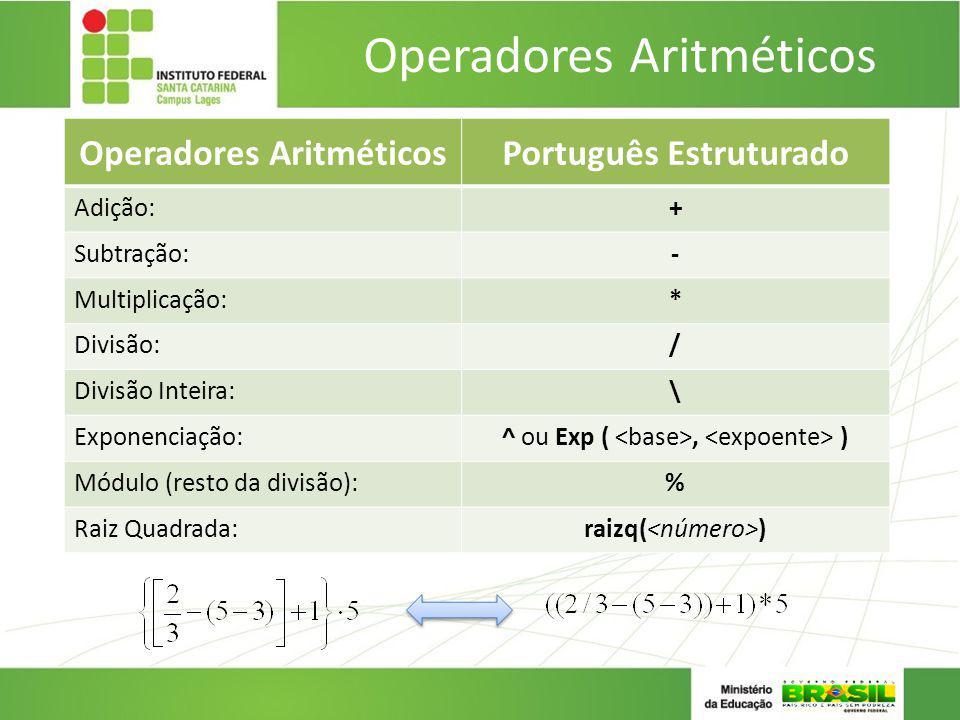 Operadores Aritméticos Português Estruturado Adição:+ Subtração:- Multiplicação:* Divisão:/ Divisão Inteira:\ Exponenciação:^ ou Exp (, ) Módulo (rest