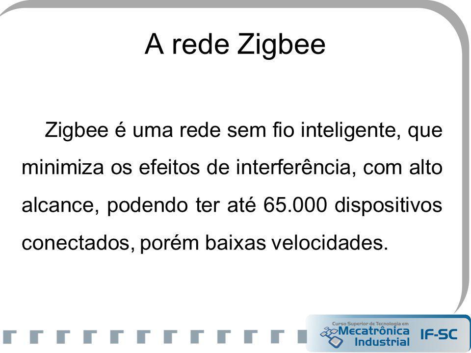 A rede Zigbee Zigbee é uma rede sem fio inteligente, que minimiza os efeitos de interferência, com alto alcance, podendo ter até 65.000 dispositivos c