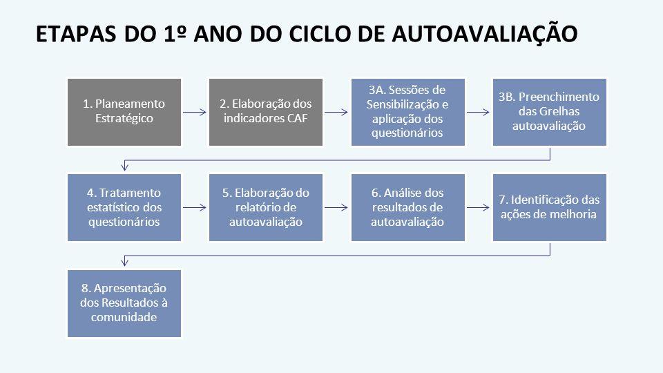 ETAPAS DO 1º ANO DO CICLO DE AUTOAVALIAÇÃO 1. Planeamento Estratégico 2. Elaboração dos indicadores CAF 3A. Sessões de Sensibilização e aplicação dos