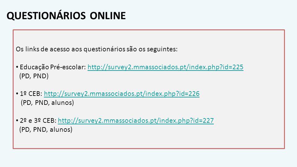 QUESTIONÁRIOS ONLINE Os links de acesso aos questionários são os seguintes: Educação Pré-escolar: http://survey2.mmassociados.pt/index.php?id=225http: