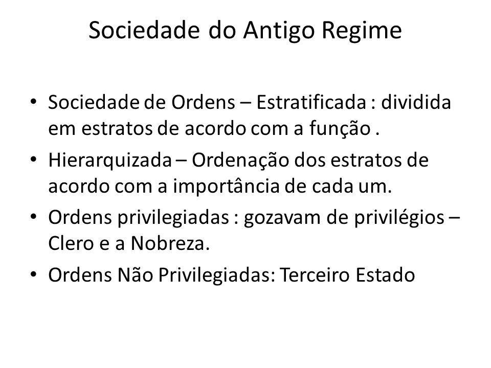 Sociedade de Ordens – Estratificada : dividida em estratos de acordo com a função. Hierarquizada – Ordenação dos estratos de acordo com a importância