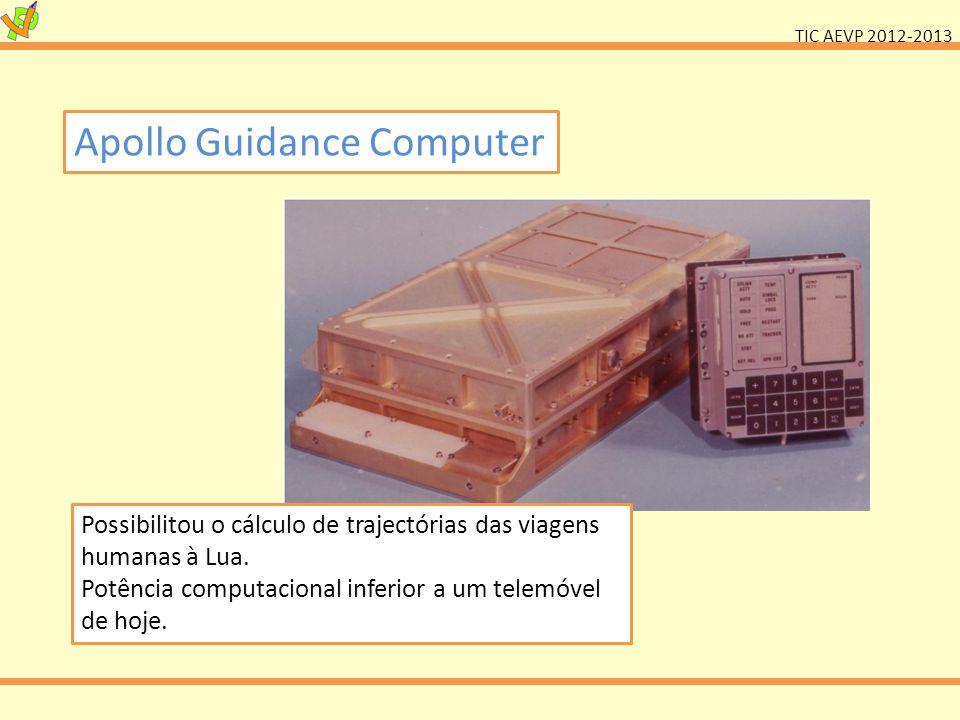 TIC AEVP 2012-2013 Apollo Guidance Computer Possibilitou o cálculo de trajectórias das viagens humanas à Lua.