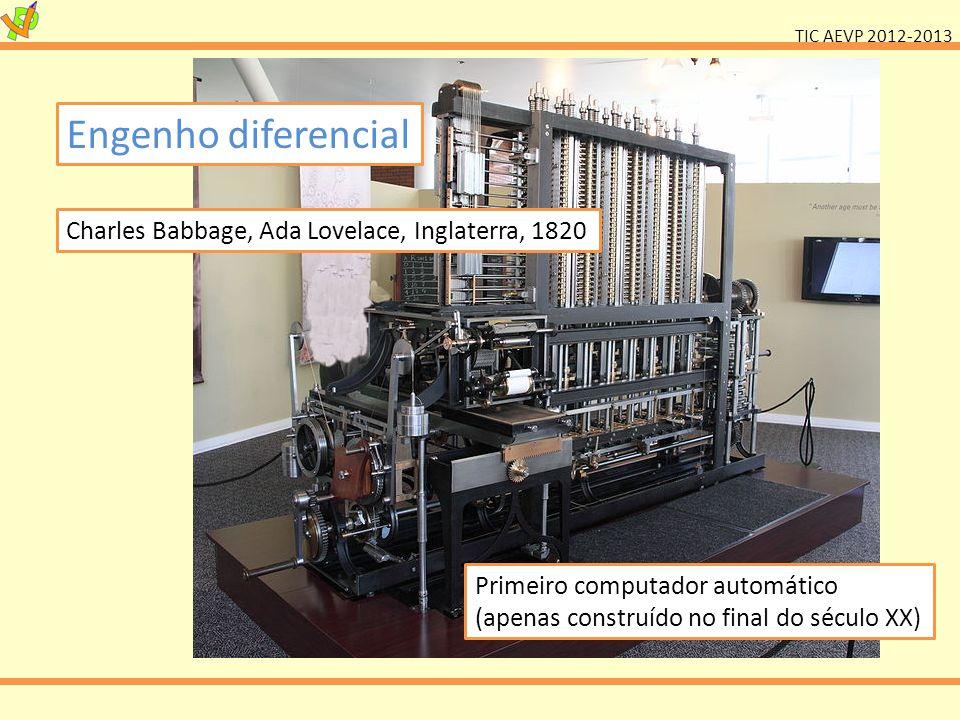 TIC AEVP 2012-2013 Engenho diferencial Charles Babbage, Ada Lovelace, Inglaterra, 1820 Primeiro computador automático (apenas construído no final do século XX)