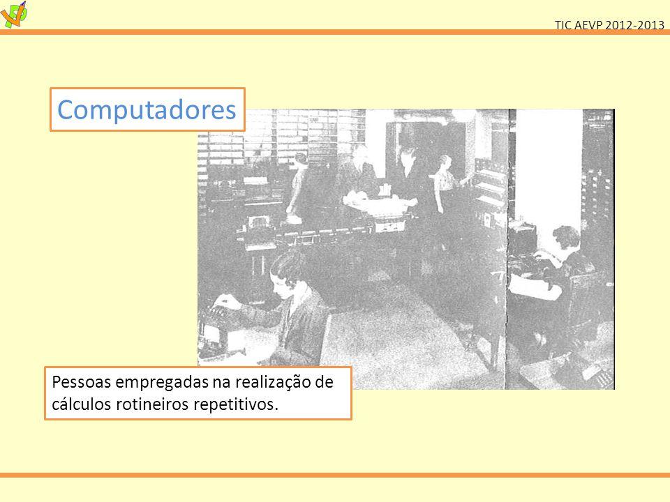 TIC AEVP 2012-2013 Computadores Pessoas empregadas na realização de cálculos rotineiros repetitivos.