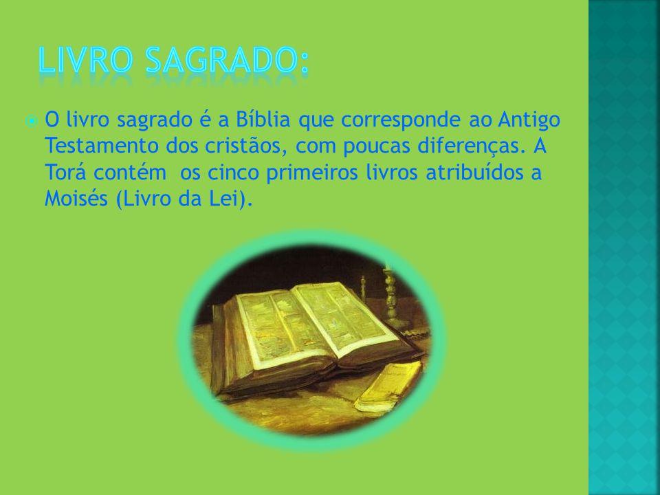 O livro sagrado é a Bíblia que corresponde ao Antigo Testamento dos cristãos, com poucas diferenças. A Torá contém os cinco primeiros livros atribuído
