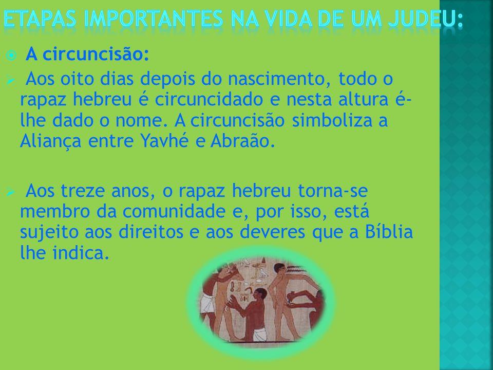 A circuncisão: Aos oito dias depois do nascimento, todo o rapaz hebreu é circuncidado e nesta altura é- lhe dado o nome. A circuncisão simboliza a Ali