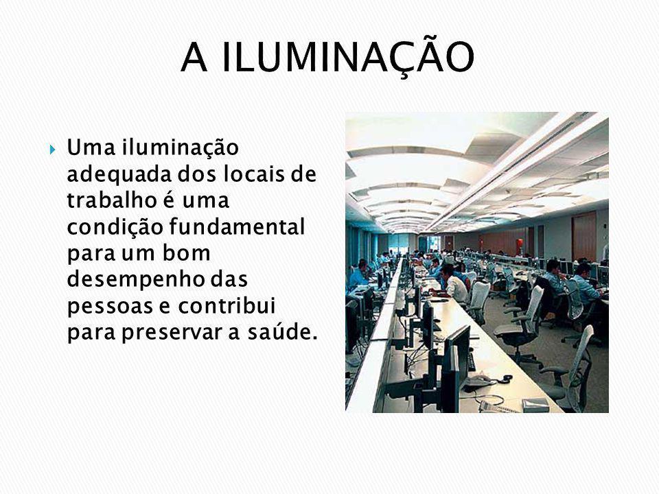 Uma iluminação adequada dos locais de trabalho é uma condição fundamental para um bom desempenho das pessoas e contribui para preservar a saúde.