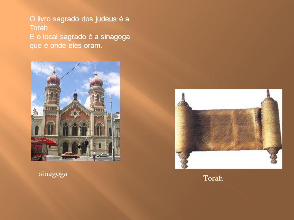 O livro sagrado dos judeus é a Torah E o local sagrado é a sinagoga que é onde eles oram. Torah sinagoga