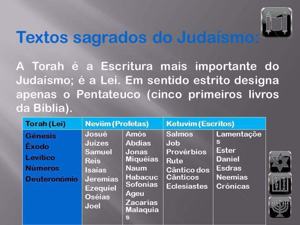 Textos sagrados do Judaísmo: A Torah é a Escritura mais importante do Judaísmo; é a Lei. Em sentido estrito designa apenas o Pentateuco (cinco primeir
