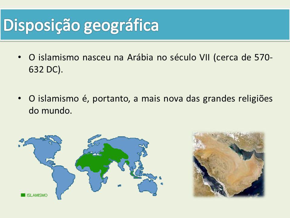 O islamismo nasceu na Arábia no século VII (cerca de 570- 632 DC). O islamismo é, portanto, a mais nova das grandes religiões do mundo.