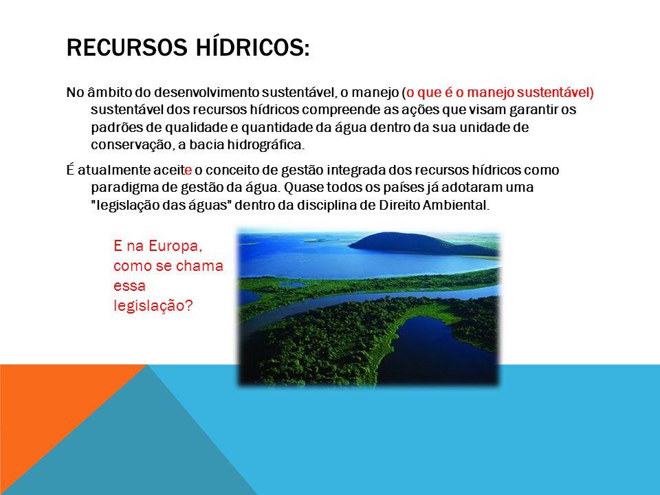 RECURSOS HÍDRICOS: No âmbito do desenvolvimento sustentável, o manejo (o que é o manejo sustentável) sustentável dos recursos hídricos compreende as ações que visam garantir os padrões de qualidade e quantidade da água dentro da sua unidade de conservação, a bacia hidrográfica.