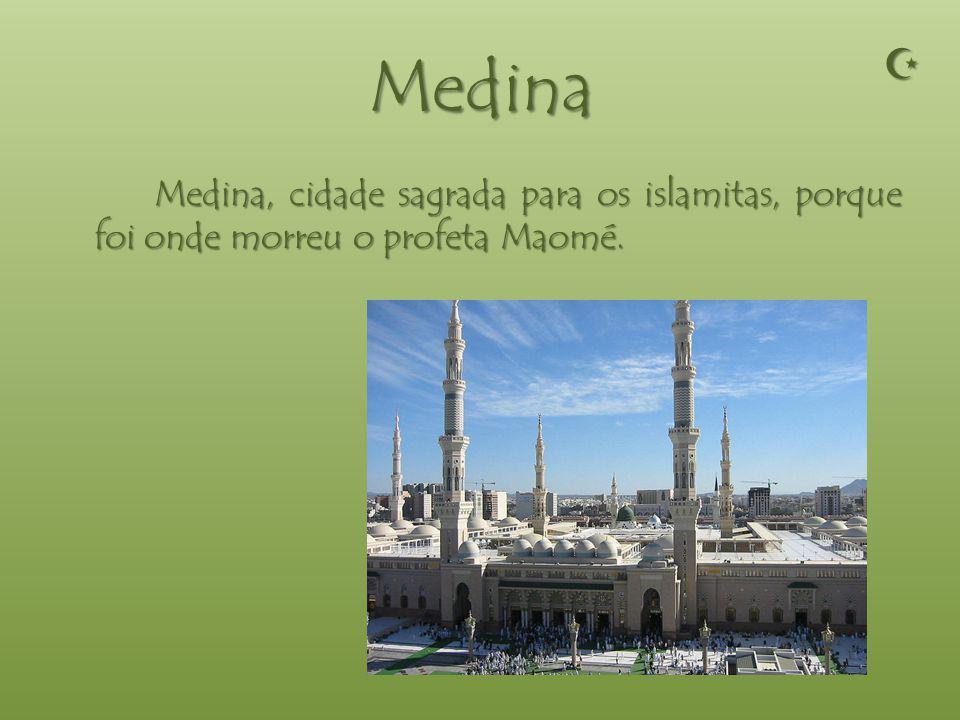 Meca Meca, cidade sagrada para os islamitas, porque foi onde nasceu o profeta Maomé.