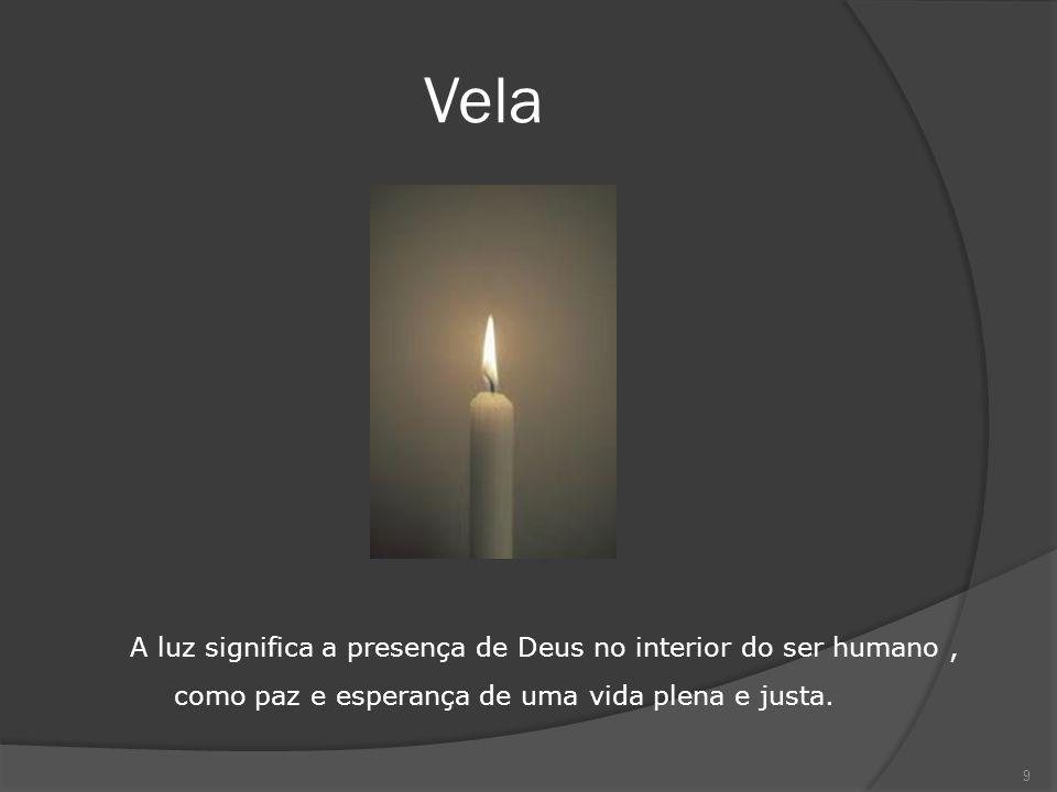 Vela A luz significa a presença de Deus no interior do ser humano, como paz e esperança de uma vida plena e justa. 9