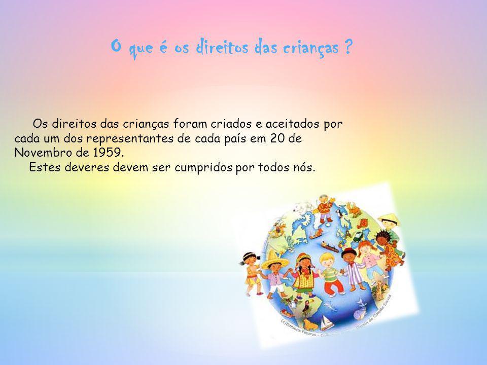 O que é os direitos das crianças ? Os direitos das crianças foram criados e aceitados por cada um dos representantes de cada país em 20 de Novembro de