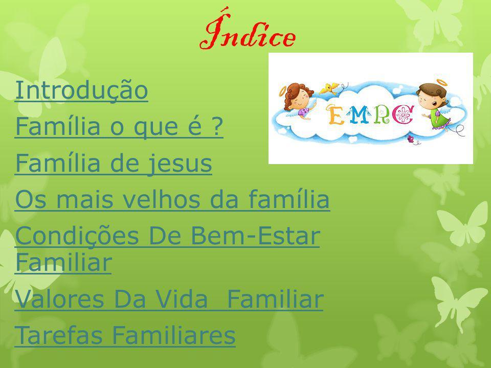 Índice Introdução Família o que é ? Família de jesus Os mais velhos da família Condições De Bem-Estar Familiar Valores Da Vida Familiar Tarefas Famili