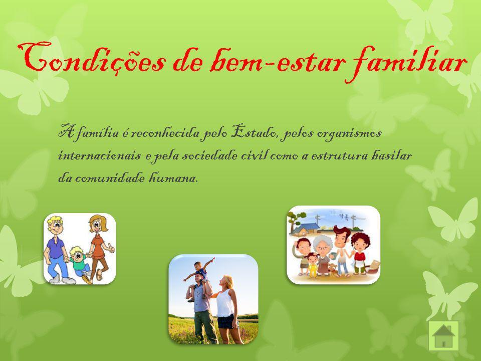 Condições de bem-estar familiar A família é reconhecida pelo Estado, pelos organismos internacionais e pela sociedade civil como a estrutura basilar d