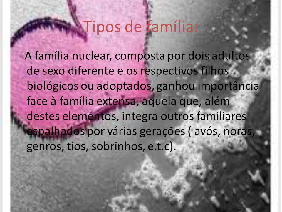 Tipos de família: A família nuclear, composta por dois adultos de sexo diferente e os respectivos filhos biológicos ou adoptados, ganhou importância f