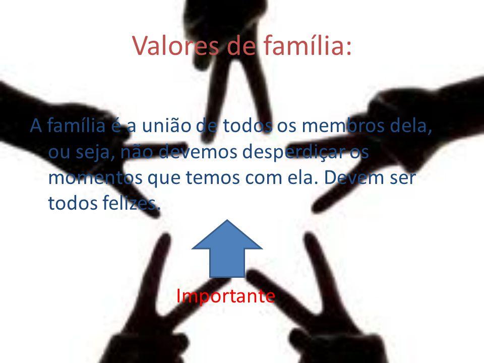 Valores de família: A família é a união de todos os membros dela, ou seja, não devemos desperdiçar os momentos que temos com ela. Devem ser todos feli