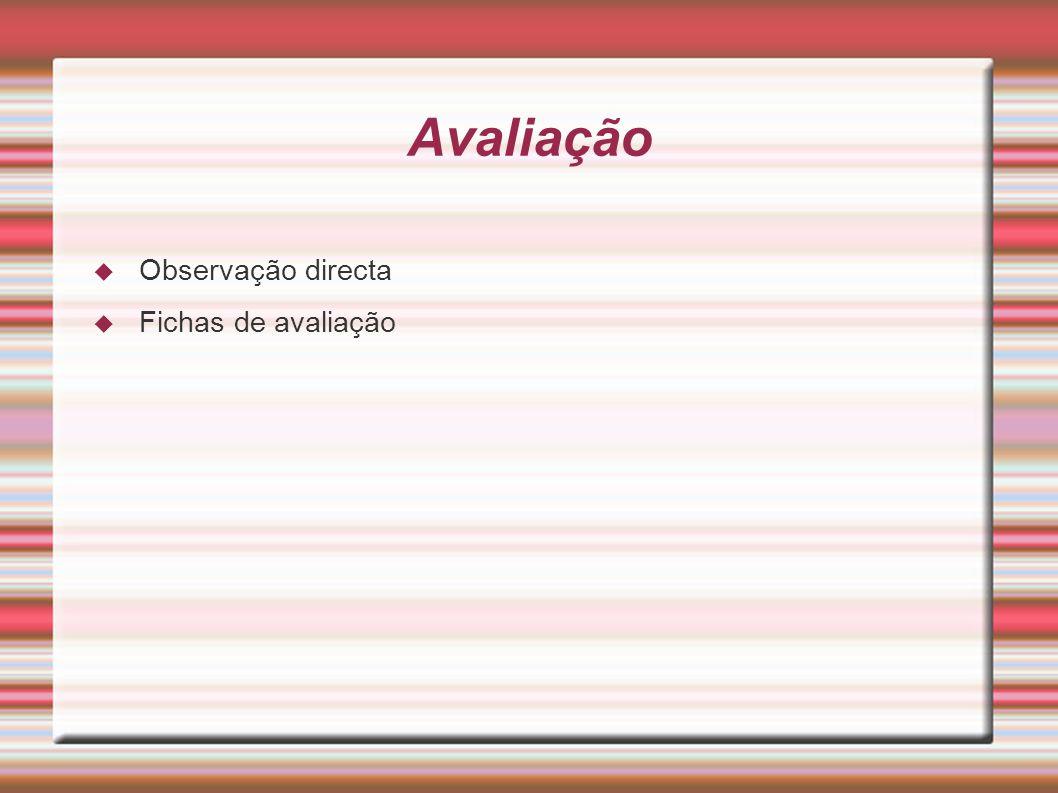 Avaliação Observação directa Fichas de avaliação
