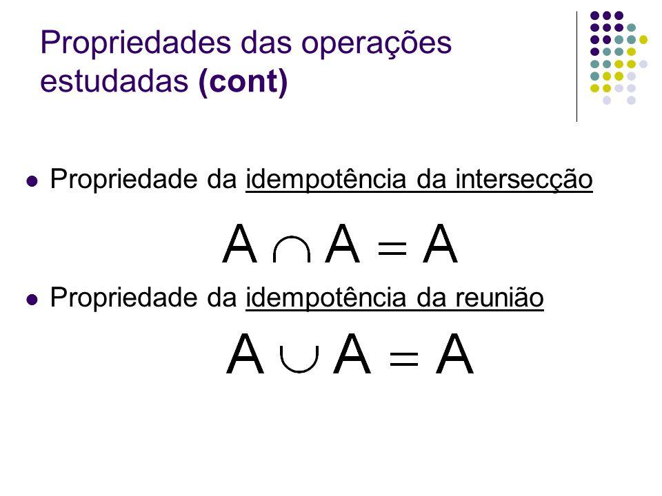 Propriedades das operações estudadas (cont) Propriedade da idempotência da intersecção Propriedade da idempotência da reunião