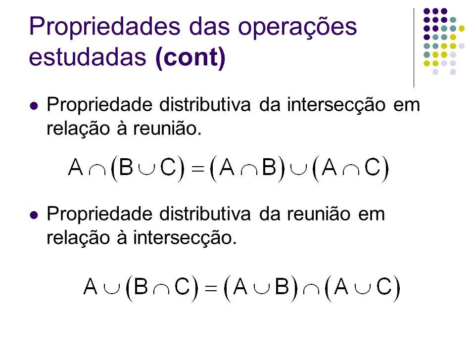 Propriedades das operações estudadas (cont) Propriedade distributiva da intersecção em relação à reunião. Propriedade distributiva da reunião em relaç