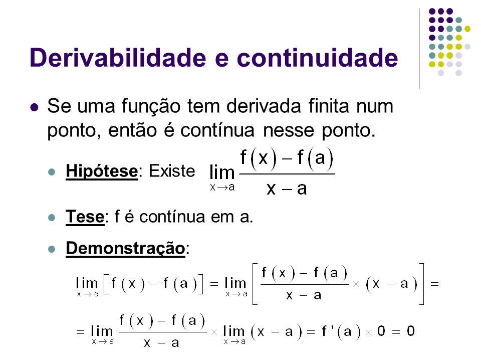 Derivabilidade e continuidade Se uma função tem derivada finita num ponto, então é contínua nesse ponto. Hipótese: Existe Tese: f é contínua em a. Dem