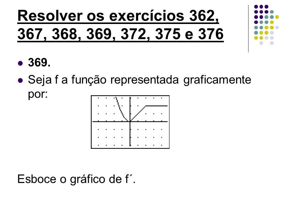 Resolver os exercícios 362, 367, 368, 369, 372, 375 e 376 369. Seja f a função representada graficamente por: Esboce o gráfico de f´.