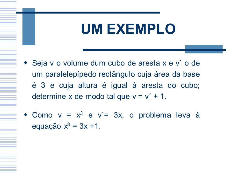 UM EXEMPLO Seja v o volume dum cubo de aresta x e v´ o de um paralelepípedo rectângulo cuja área da base é 3 e cuja altura é igual à aresta do cubo; d