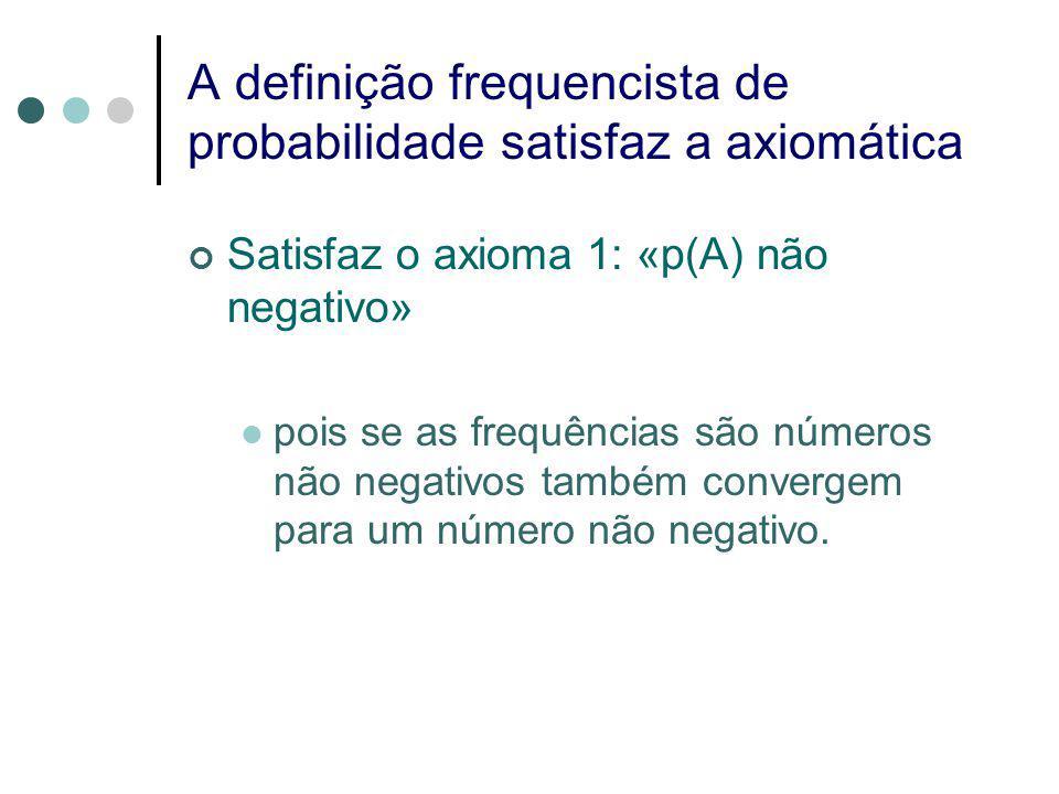 A definição frequencista de probabilidade satisfaz a axiomática Satisfaz o axioma 1: «p(A) não negativo» pois se as frequências são números não negativos também convergem para um número não negativo.