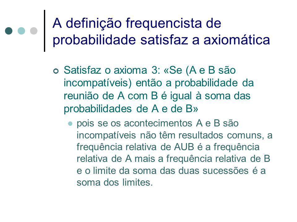 A definição frequencista de probabilidade satisfaz a axiomática Satisfaz o axioma 3: «Se (A e B são incompatíveis) então a probabilidade da reunião de A com B é igual à soma das probabilidades de A e de B» pois se os acontecimentos A e B são incompatíveis não têm resultados comuns, a frequência relativa de AUB é a frequência relativa de A mais a frequência relativa de B e o limite da soma das duas sucessões é a soma dos limites.