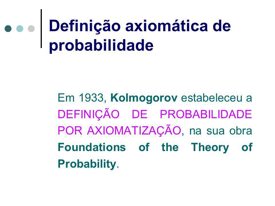 Definição axiomática de probabilidade Em 1933, Kolmogorov estabeleceu a DEFINIÇÃO DE PROBABILIDADE POR AXIOMATIZAÇÃO, na sua obra Foundations of the Theory of Probability.