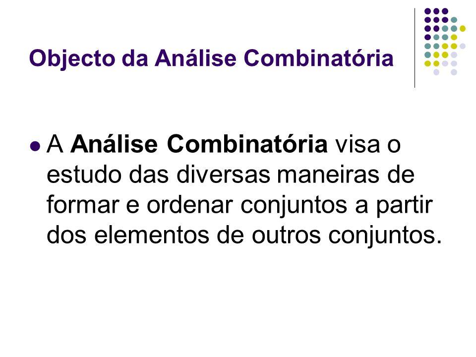 Objecto da Análise Combinatória A Análise Combinatória visa o estudo das diversas maneiras de formar e ordenar conjuntos a partir dos elementos de out