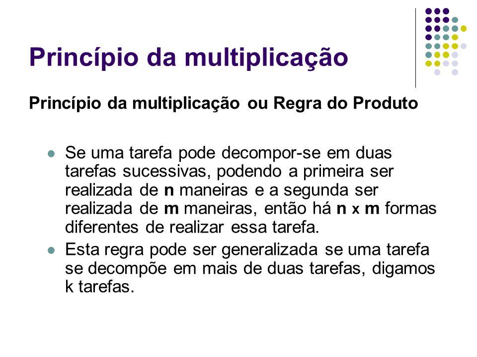 Princípio da multiplicação Princípio da multiplicação ou Regra do Produto Se uma tarefa pode decompor-se em duas tarefas sucessivas, podendo a primeir