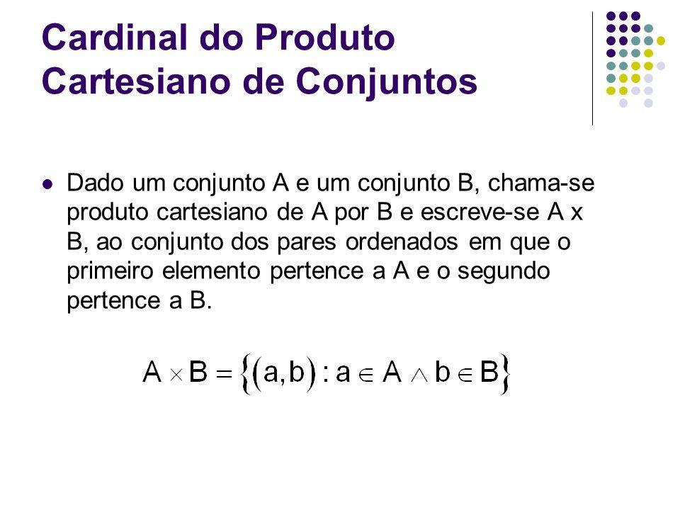 Cardinal do Produto Cartesiano de Conjuntos Dado um conjunto A e um conjunto B, chama-se produto cartesiano de A por B e escreve-se A x B, ao conjunto