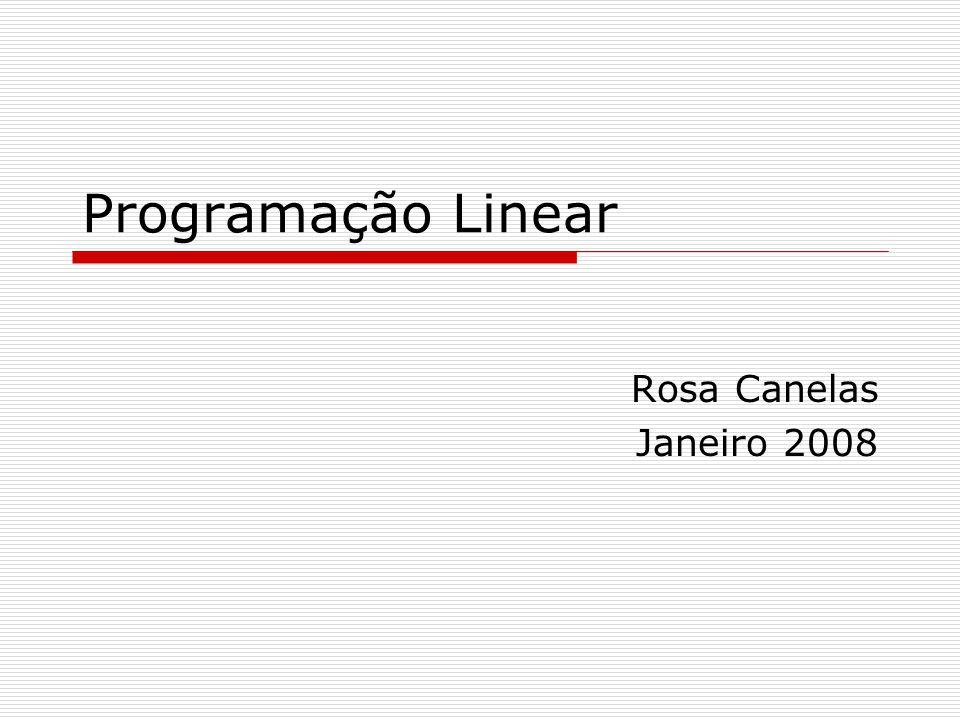 Programação Linear Rosa Canelas Janeiro 2008