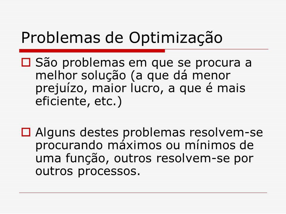 Problemas de Optimização São problemas em que se procura a melhor solução (a que dá menor prejuízo, maior lucro, a que é mais eficiente, etc.) Alguns