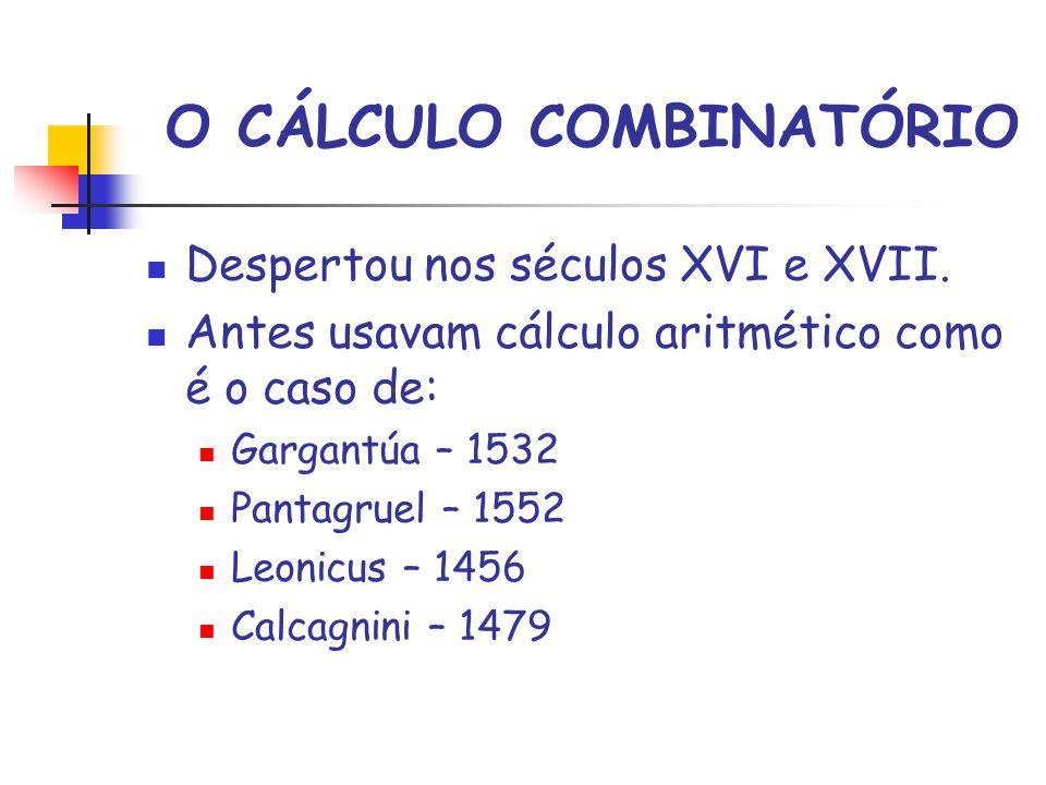 O CÁLCULO COMBINATÓRIO Despertou nos séculos XVI e XVII.