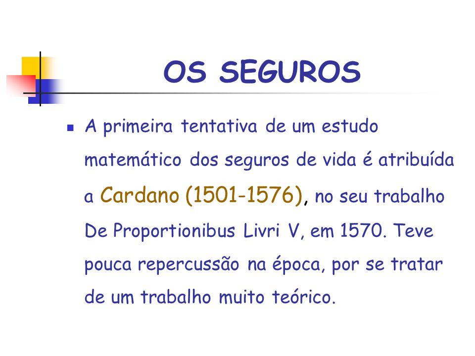 OS SEGUROS A primeira tentativa de um estudo matemático dos seguros de vida é atribuída a Cardano (1501-1576), no seu trabalho De Proportionibus Livri V, em 1570.