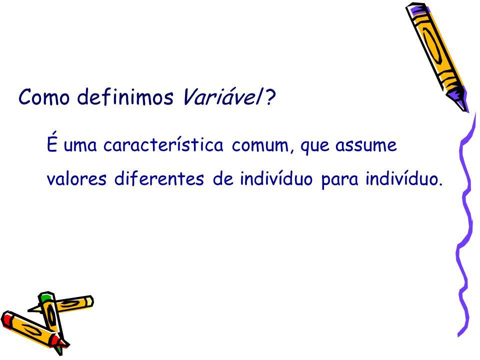 Como definimos Variável ? É uma característica comum, que assume valores diferentes de indivíduo para indivíduo.