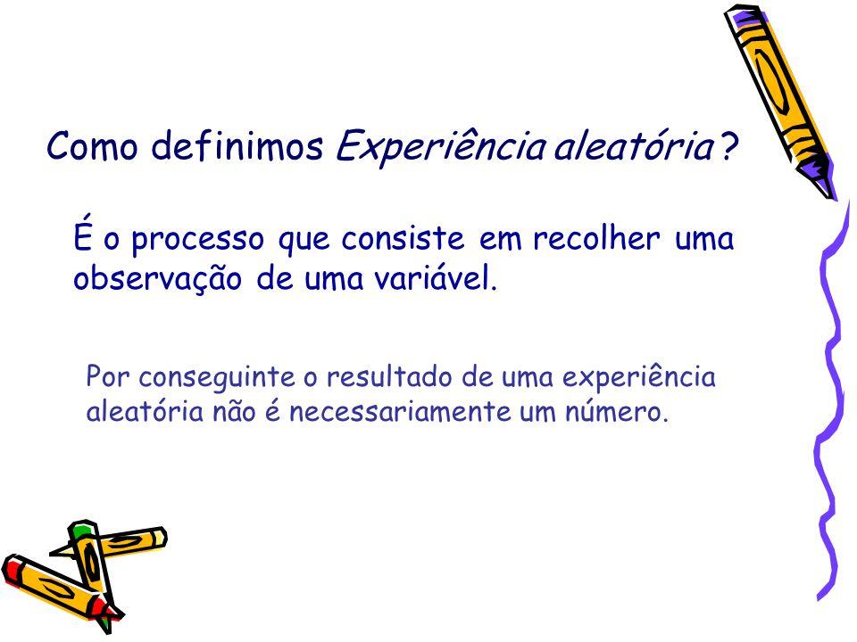 Como definimos Experiência aleatória ? É o processo que consiste em recolher uma observação de uma variável. Por conseguinte o resultado de uma experi