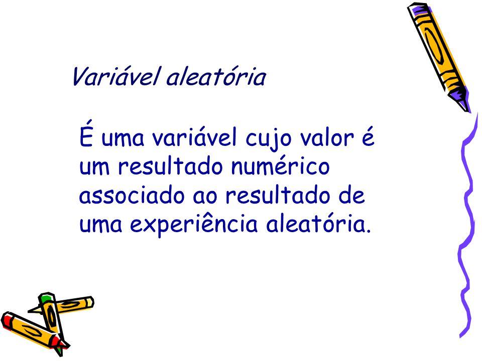 Variável aleatória É uma variável cujo valor é um resultado numérico associado ao resultado de uma experiência aleatória.
