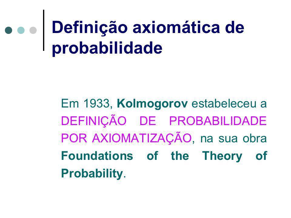 Definição axiomática de probabilidade Em 1933, Kolmogorov estabeleceu a DEFINIÇÃO DE PROBABILIDADE POR AXIOMATIZAÇÃO, na sua obra Foundations of the T