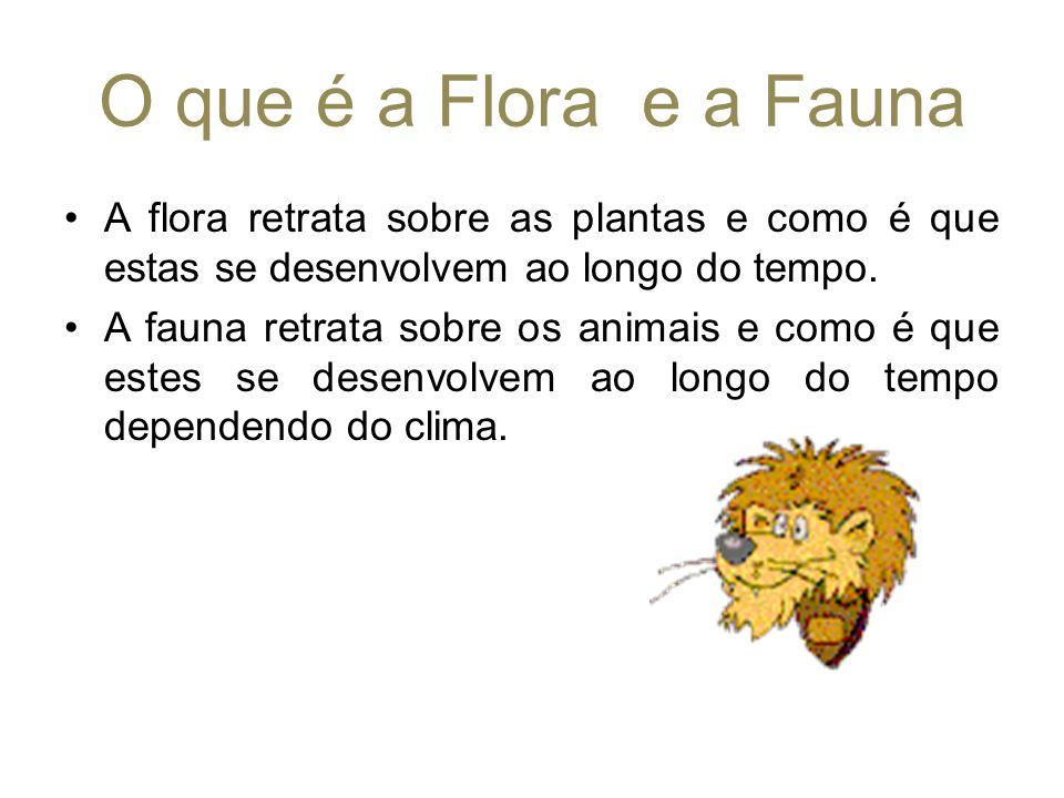 O que é a Flora e a Fauna A flora retrata sobre as plantas e como é que estas se desenvolvem ao longo do tempo. A fauna retrata sobre os animais e com