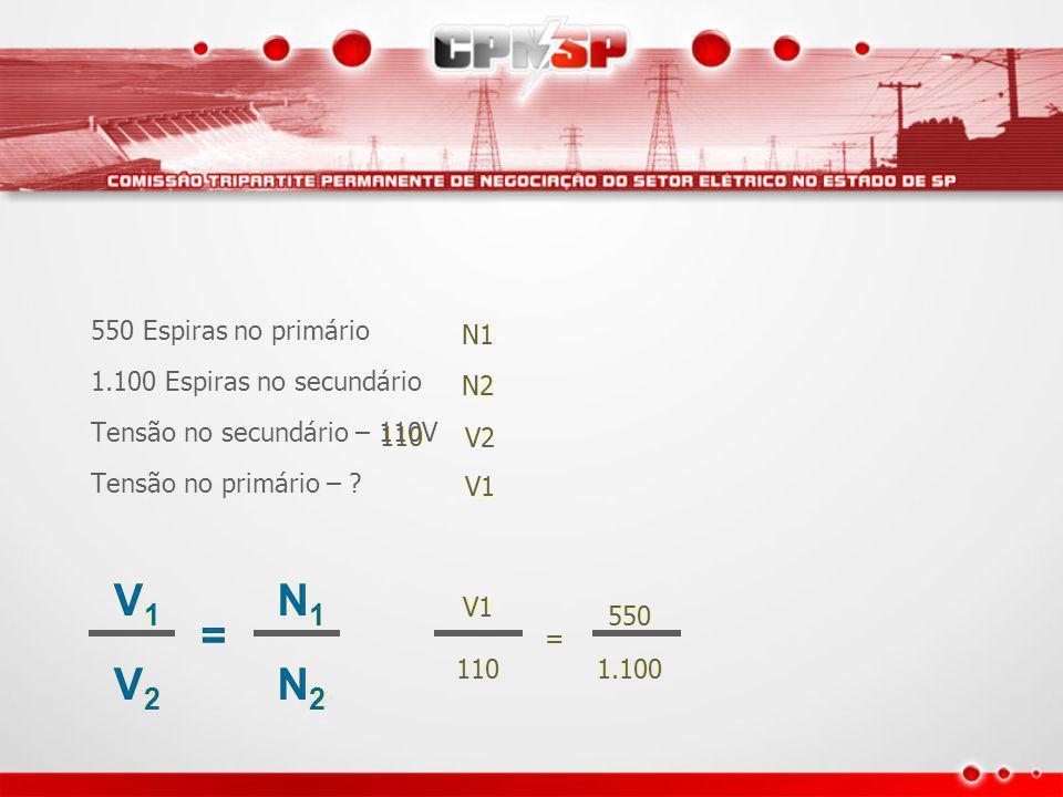 V1 V1V1 V1V1 V2V2 V2V2 == N1N1 N1N1 N2N2 N2N2 550 Espiras no primário 1.100 Espiras no secundário Tensão no secundário – 110V Tensão no primário – .